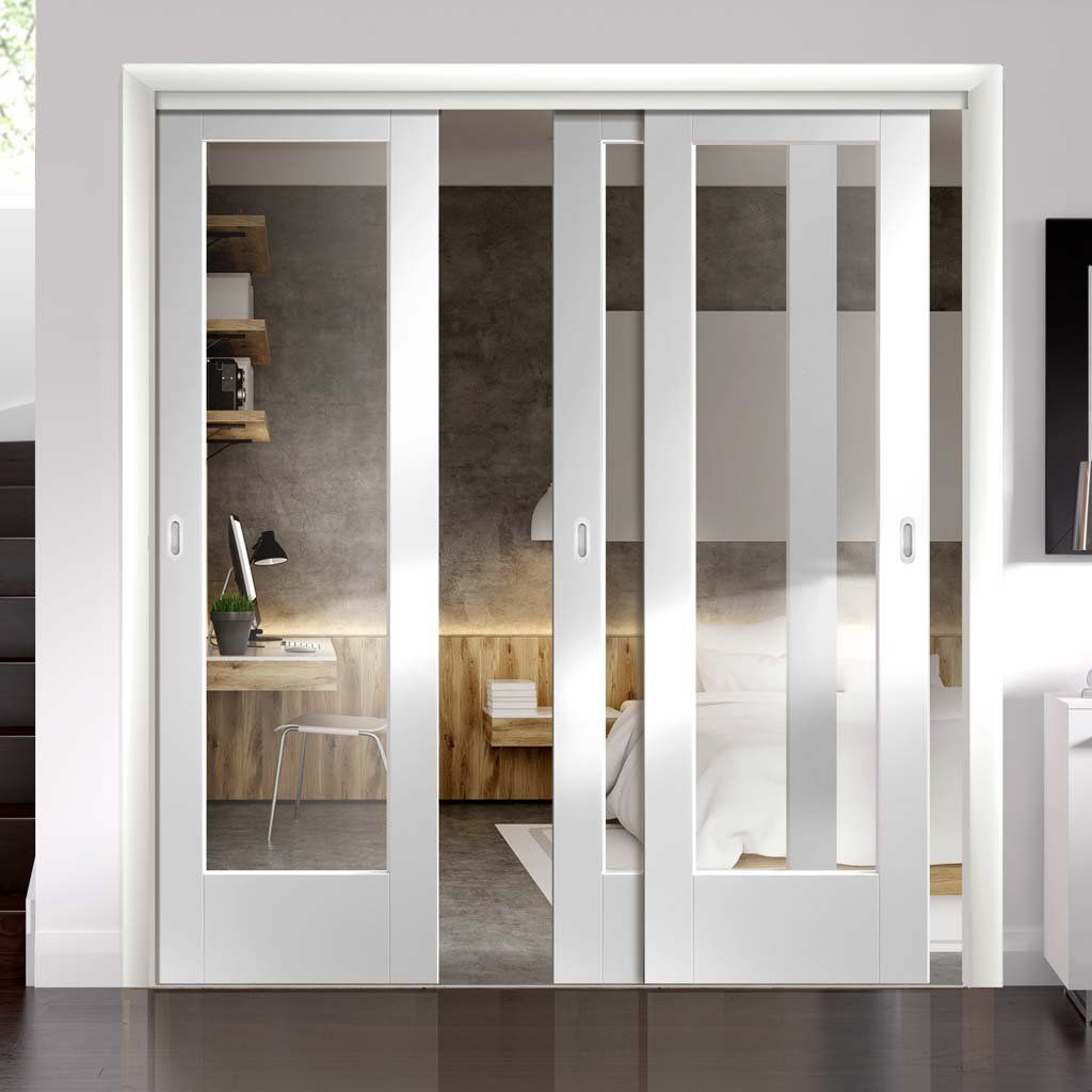 Thruslide Pattern 10 1l 3 Sliding Doors And Frame Kit Clear Glass White Primed Lifestyle Image Sliding French Doors Buy Interior Doors French Doors