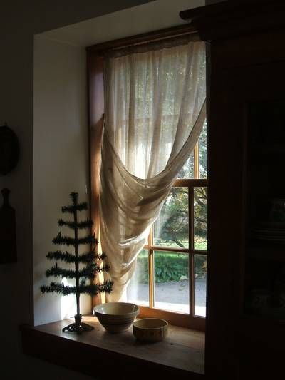 Feather Tree Shown W Tobacco Cloth Curtains