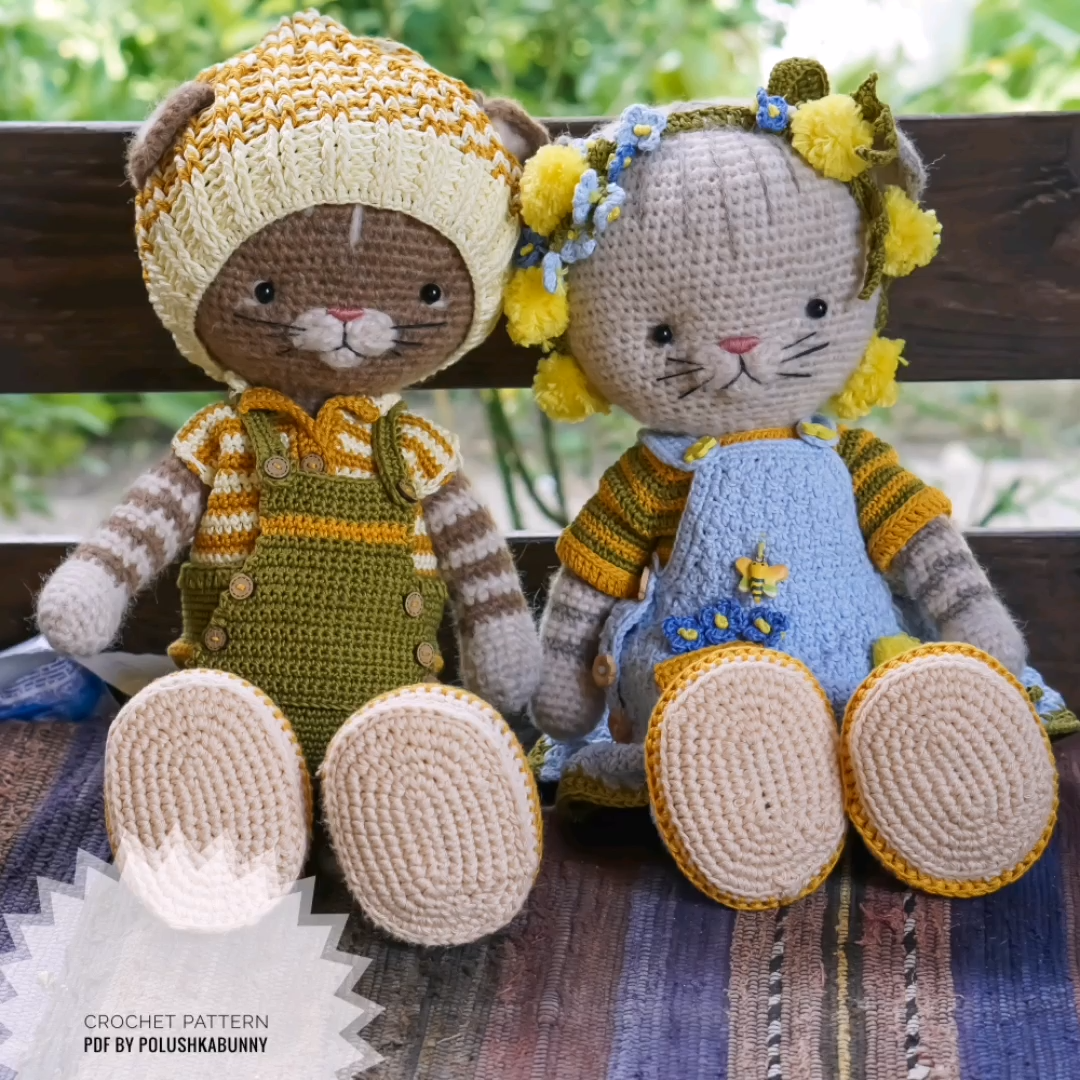 """Photo of Häkelanleitung """"Farmer Boy Outfit"""" für Katzenspielzeug von Polushkabunny #crochet #pattern #cat #outfit"""