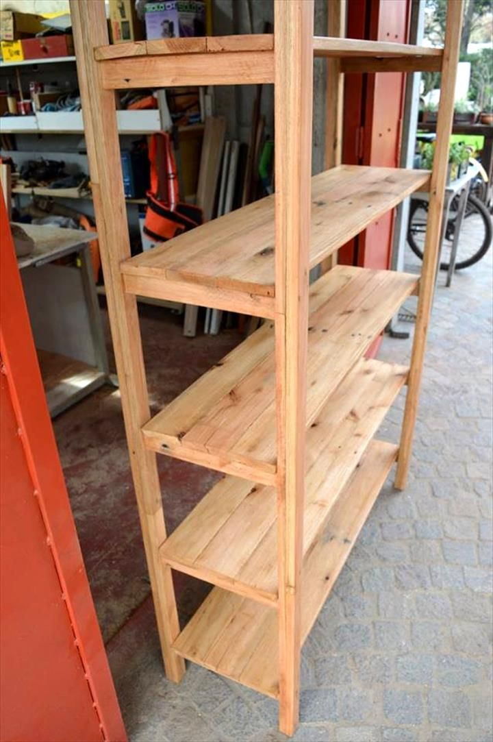 Industrial Style Pallet Shelf Unit With Images Pallet Shelves