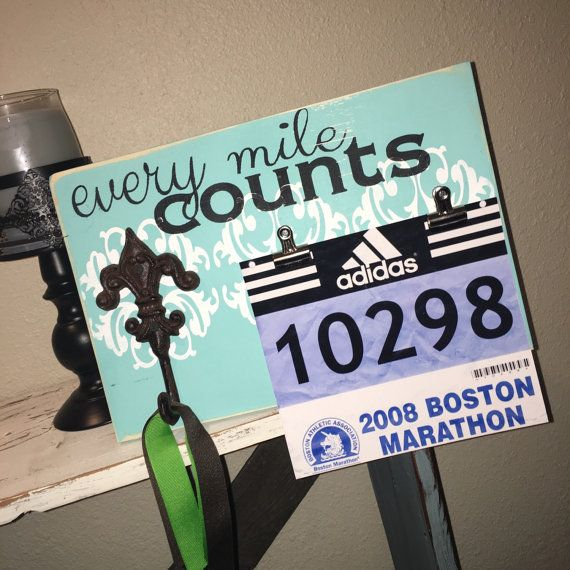 Hand Painted Sign, Runners Medal Holder - Every Mile Counts, Marathon Gift, Gift for Runner, Running, Bib Metal Holder, Bib Metal Hanger