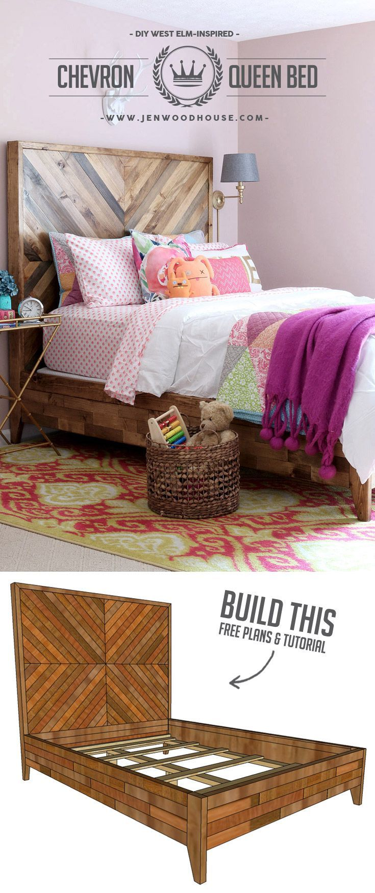 DIY West Elm Chevron Bed Free Plans Reclaimed wood