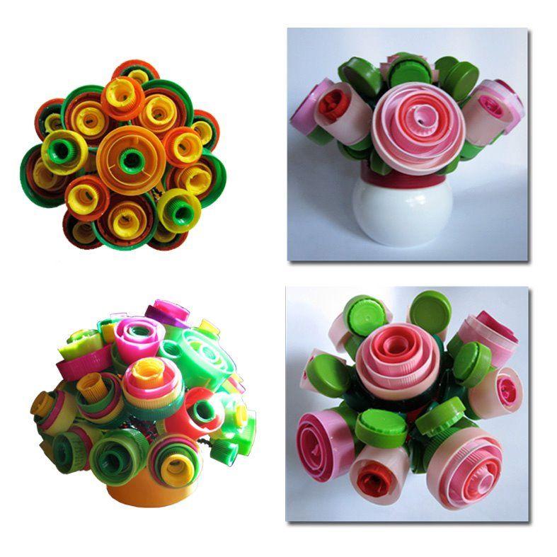 Sehr Fleurs en bouchons plastique; très sympa le résultat! | activités  MR19