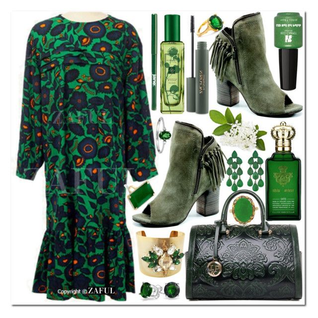 """Go Green"" by vanjazivadinovic ❤ liked on Polyvore featuring Katherine Karambelas, Diba, Jo Malone, Clive Christian, MAC Cosmetics, jane, Red Carpet Manicure, Bling Jewelry, Siman Tu and Chupi"