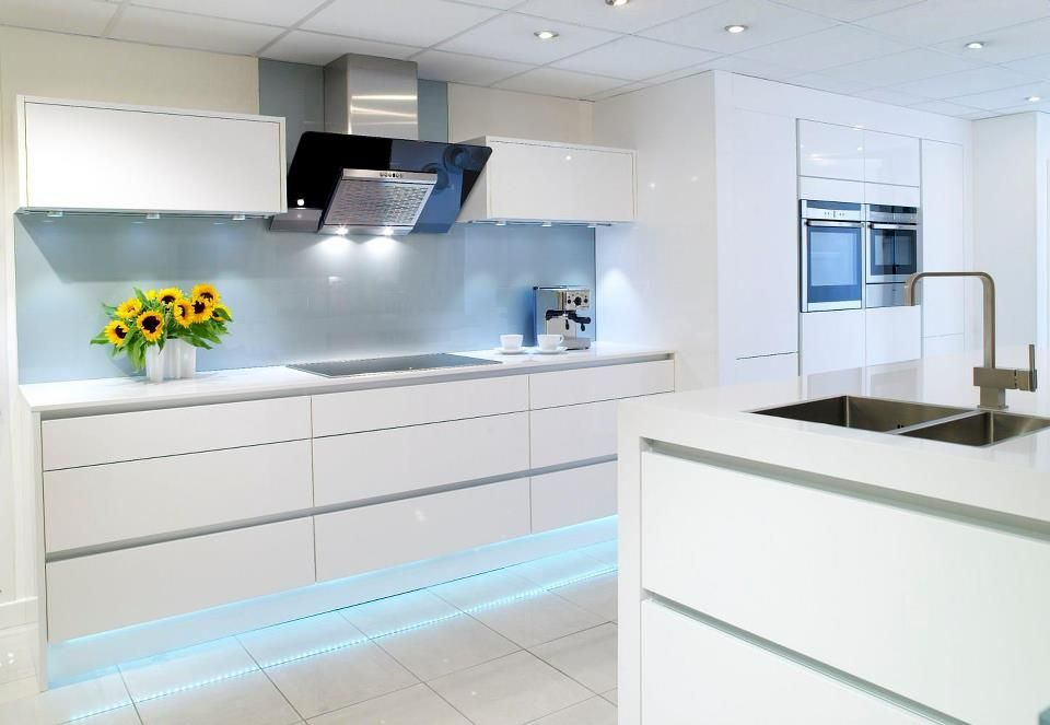 gallery linear handleless range shown in gloss white and aluminium trim plinth lighting to complete - White Gloss Kitchen Cabinets