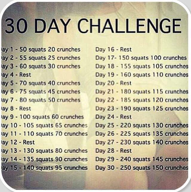30 Day Challenge Tabla De Entrenamiento Rutinas De Ejercicio Ejercicios Para Tonificar