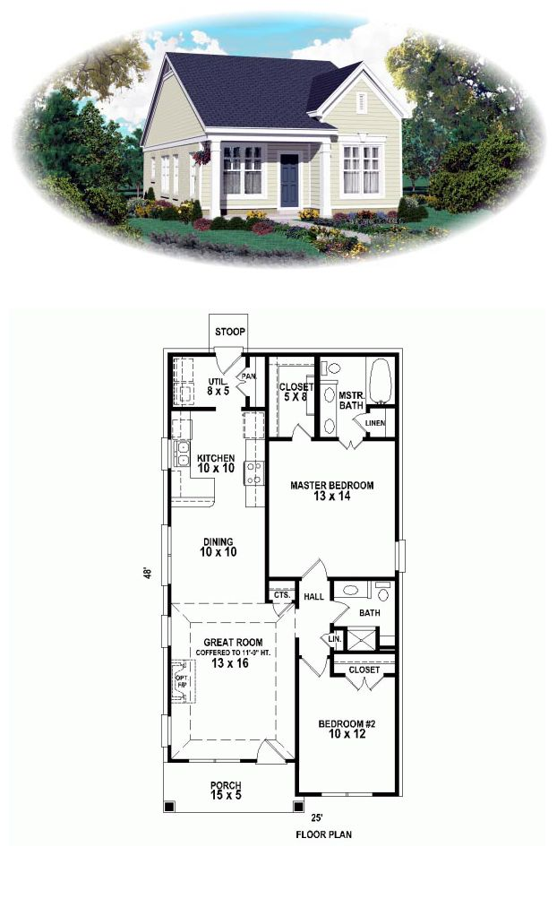 House Plan 47550 | Total Living Area: 1058 Sq Ft, 2 Bedrooms U0026 2