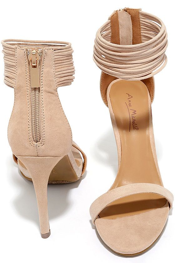 be2b63689c Bold Beauty Nude Suede Ankle Strap Heels