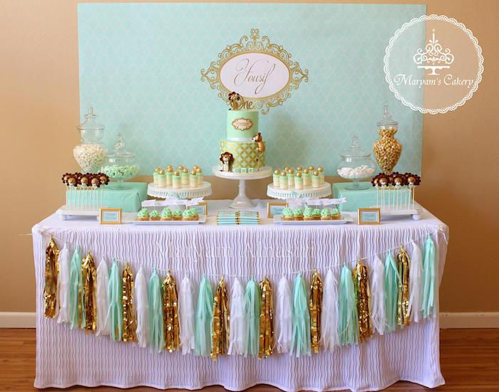 Party table from Elegant Baby Lion Birthday Party at Karas Party