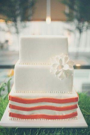 Square Wedding Cake With Orange Stripe Detail