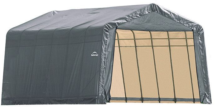 Shelterlogic 90243 13x28x10 Ft Peak Style Shelter Gray Shelter Outdoor Storage Box Instant Garage