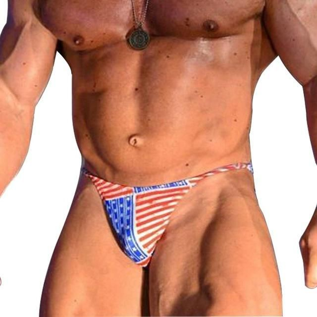 313415b1a52f9 Mens Bikini Briefs with American Flag Printing G-String Posing Trunks Sexy  Beach Swimsuits Hot Underwear Contoured Pouch