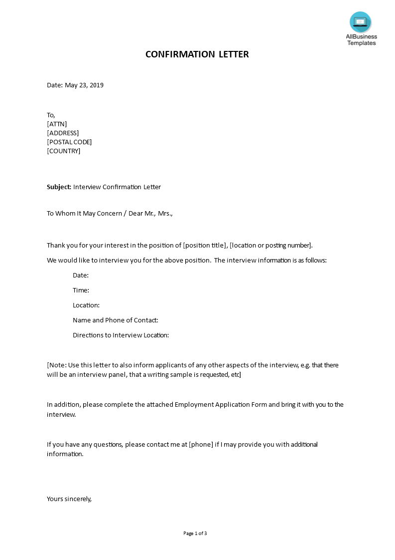 How To Write A Job Interview Confirmation Letter Check Out This Sample Job Interview Confirma Confirmation Email Template Confirmation Letter Letter Templates
