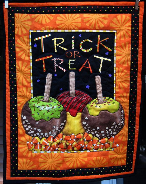 Trick or Treat Halloween Quilted Wall decor by KellettKreations - halloween decorations on pinterest