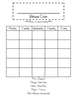 This Is A Blank Behavior Chart FreebieJust Fill In The Month The