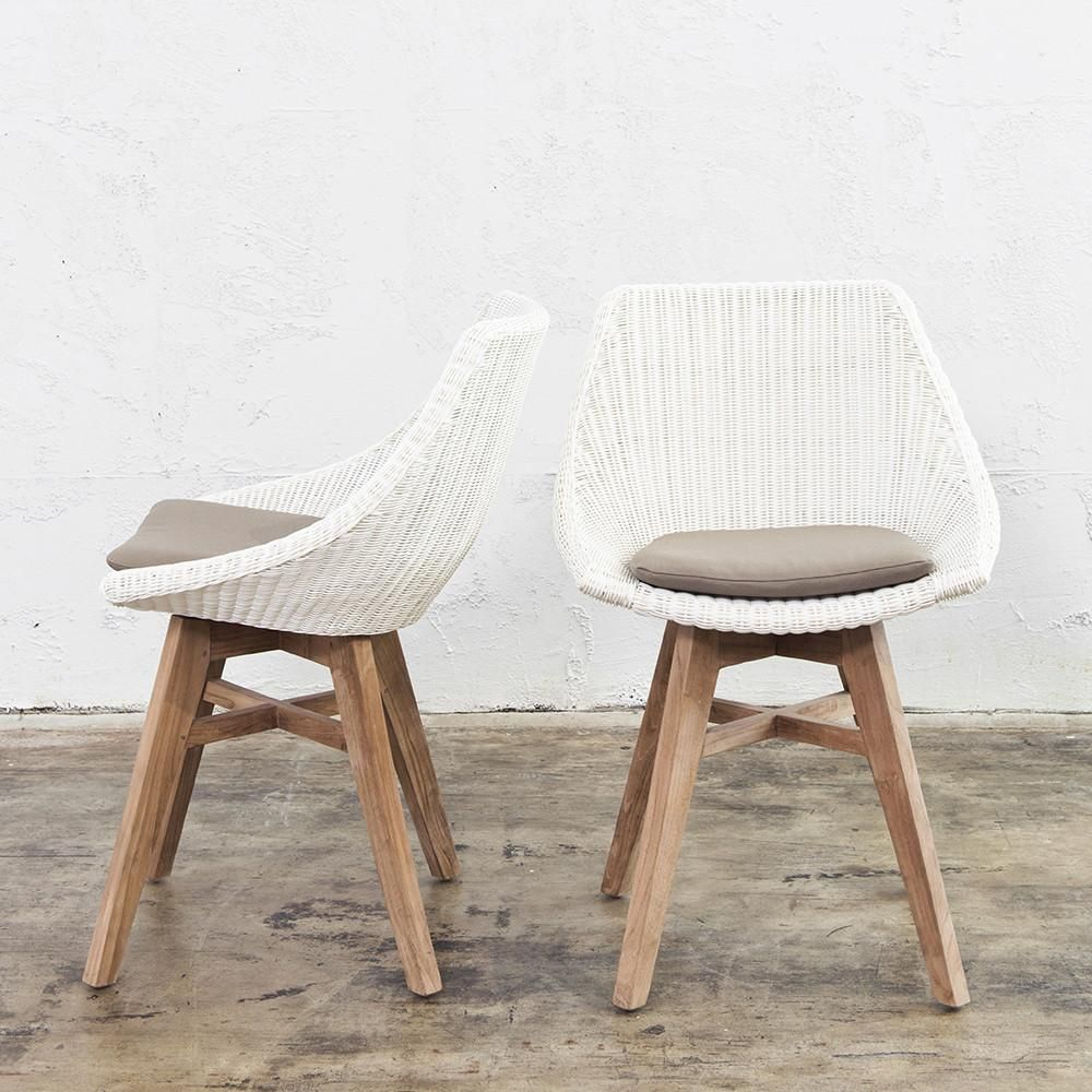Lecco hampton inspired rattan woven dining chair white
