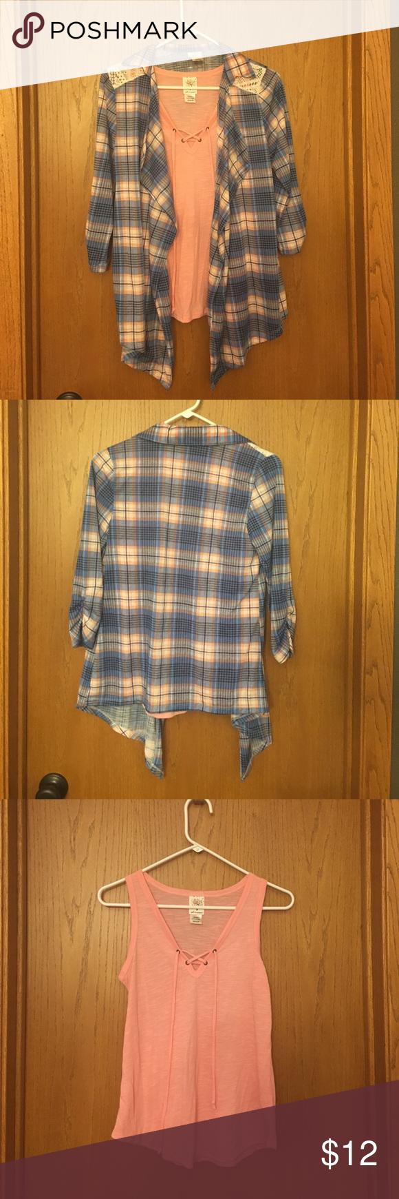Flannel under shirt  Ladies  peach tank under blue and peach flannel  Pinterest