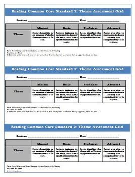 Worksheets Free Common Core Reading Worksheets free common core reading assessment theme worksheet and rubric rubric