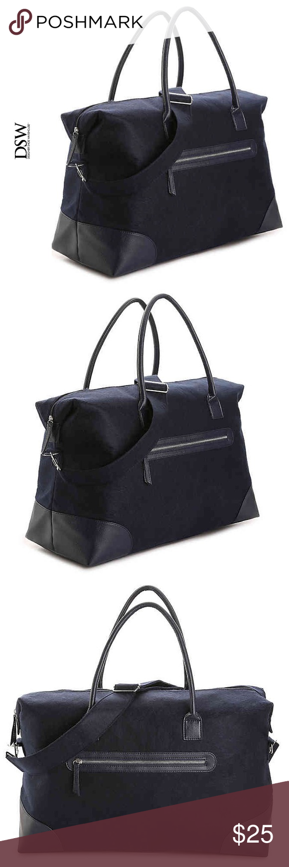 """🆕🌻DSW Navy Felt Weekender Bag 🆕🌻 Perfect for a weekend getaway, this zippered bag offers a detachable crossbody strap for carrying versatility and plenty of space for your travel essentials. FEATURES: •Navy blue felt material •Extremely roomy weekender •23.5"""" L x 15"""" H x 8.75"""" D •Perfect size for a weekend get-away! •Easy to grip rounded handle •Detachable and Adjustable shoulder strap •Easy to carry bag •Easy access front zippered pocket;perfect place to put those items you readily need! •$PRICE FIRM (unless bundled) DSW Bags Travel Bags"""