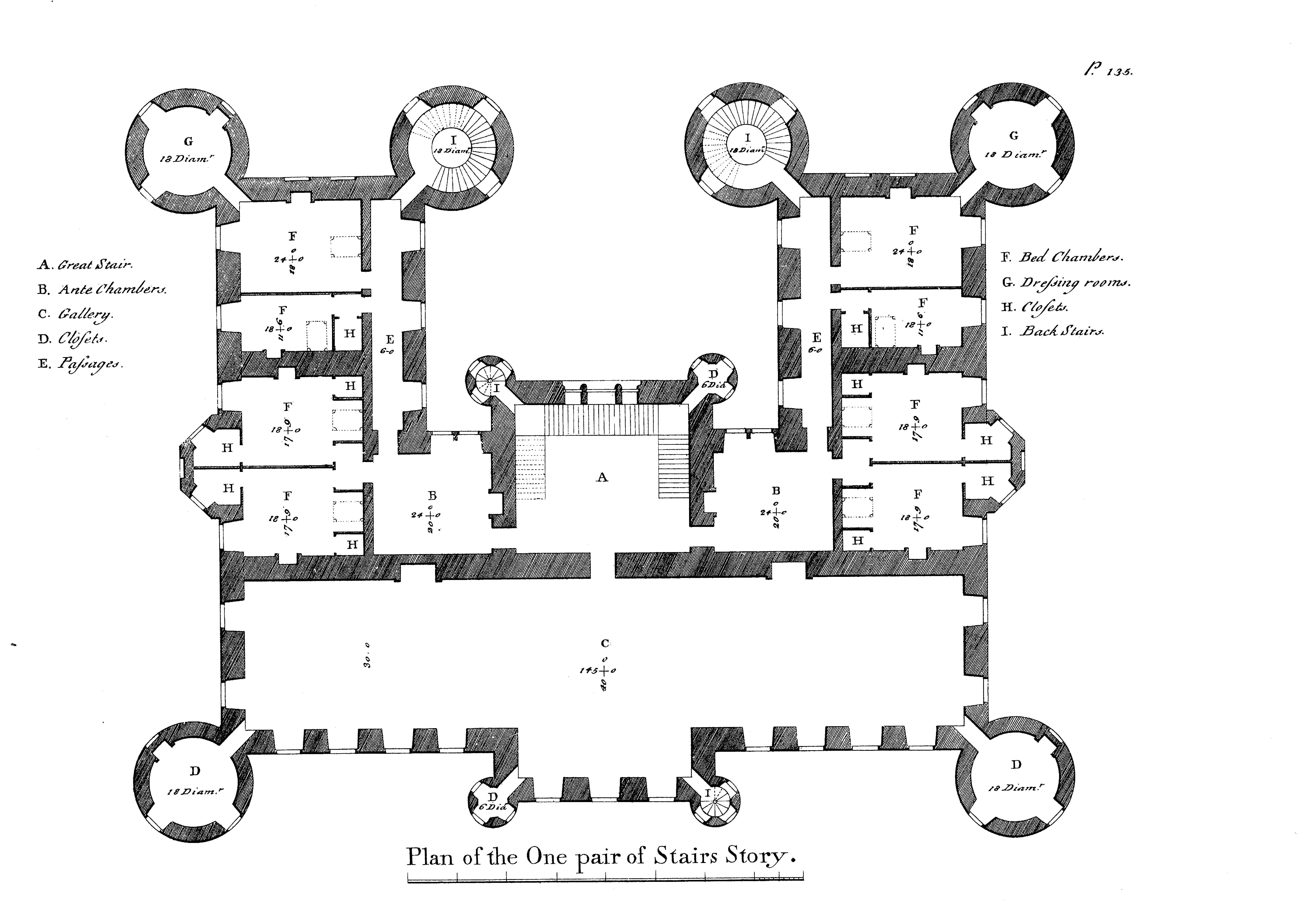 179 Robert Adam Douglas Castle Second Floor Plan