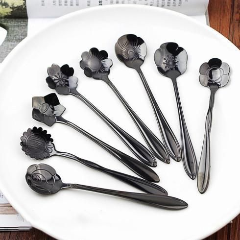 8pcs//set Coffee Spoon Flower Shape Stainless Steel Tea Spoon Ice Cream Spoons