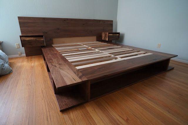 Walnut Bed Frame With Claro Nightstands California Modern