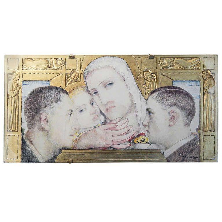 Extraordinary Art Deco Double Portrait/Devotional Panel with Gilded Sculpture   1stdibs.com