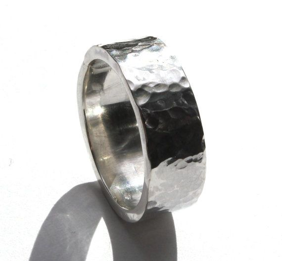 Hand made Hammered Silver Ring Size 9 by JVJEWELERS on Etsy