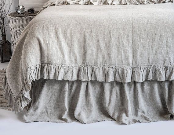 Luxury French Vintage Frilled Linen Duvet Cover & Set by BeaLinen