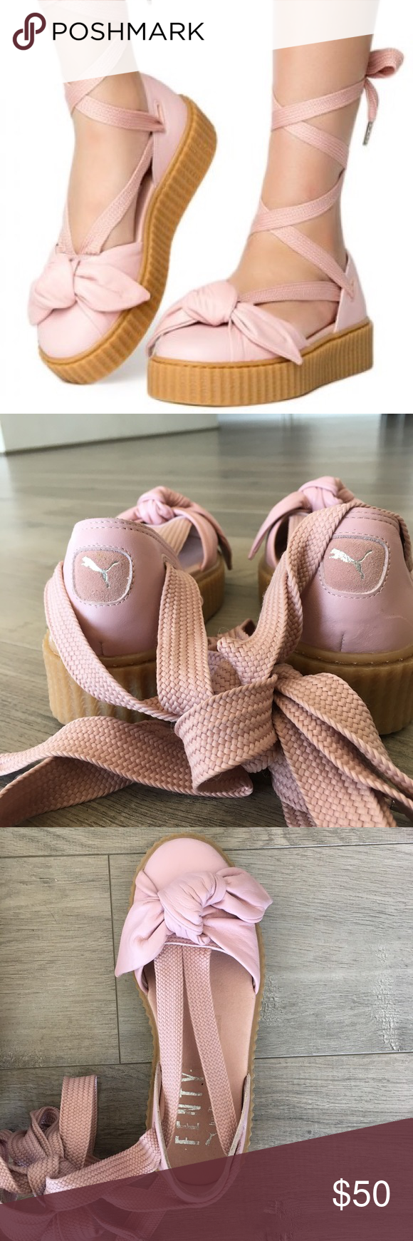 e51a8792cce2 Fenty Puma by Rihanna Bow Creeper Sandals faux leather new without tags Puma  Fenty Bandana Creeper Flats Ballerina Flats Sneakers Puma Shoes