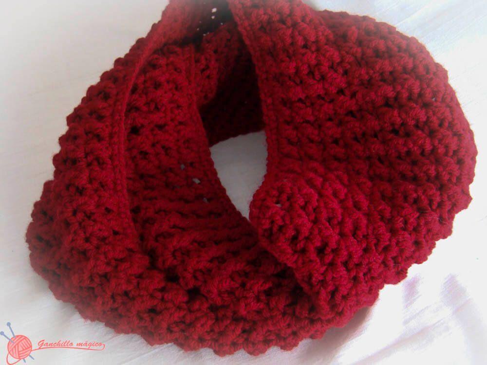 Cuello infinito rojo Granate (7)Ganchillo | accesorios para el ...