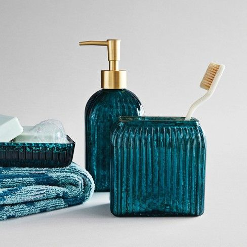Glass Soap Lotion Dispenser Teal Blue Opalhouse