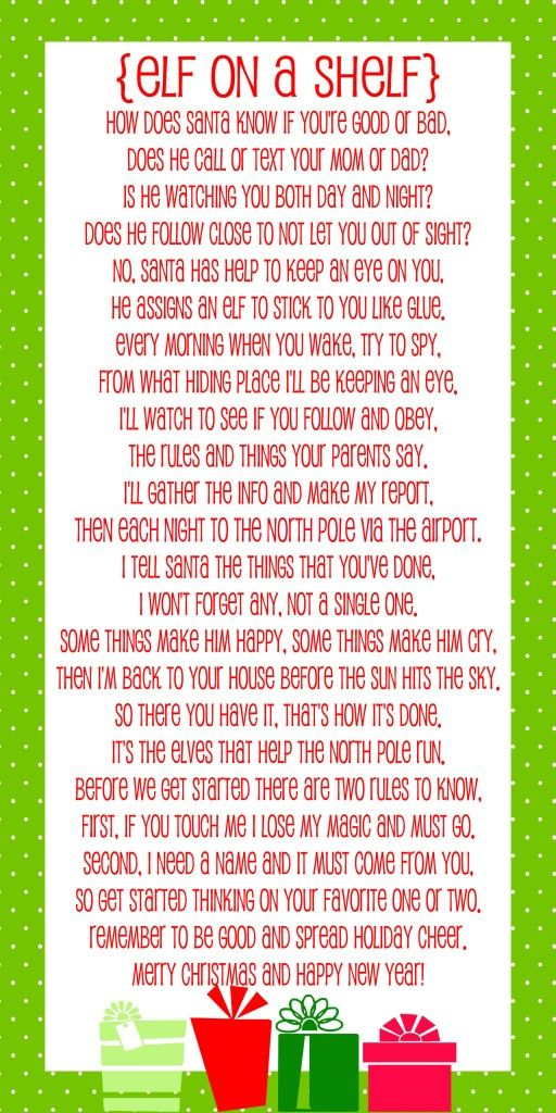 photo about Elf on the Shelf Printable Story titled Elf upon the Shelf Tale - Free of charge Printable Poem Vacation