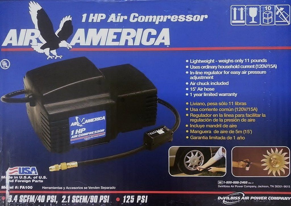 Air America 1 HP Air Compressor, lightweight 11 lbs. Ordinary ...