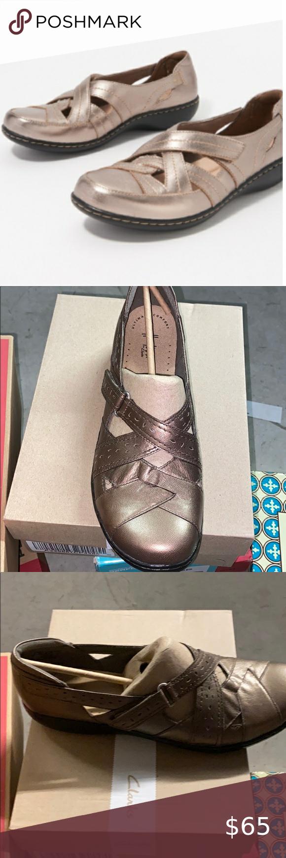 New Clarks Leather Slip-Ons - Ashland