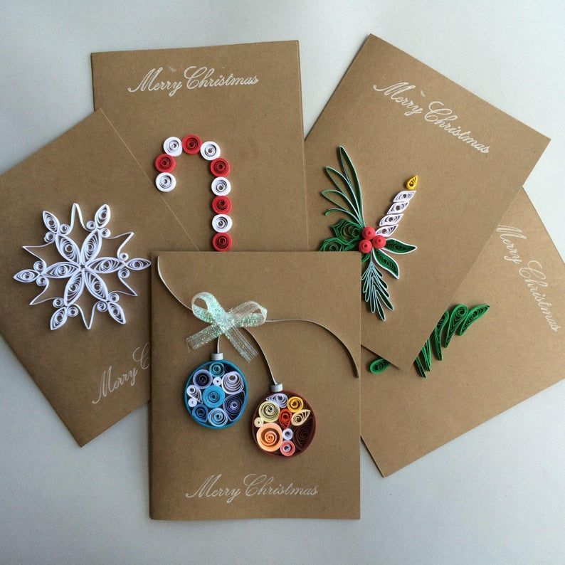 quilled holiday cards set of 5 in 2020  holiday card