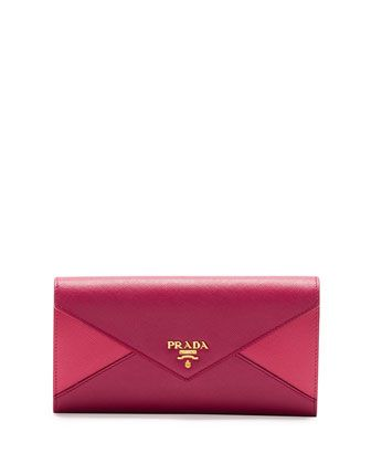 25c62463fa21a4 Saffiano Bicolor Envelope Wallet, Pink/Dark Pink (Peonia+Bisco) by Prada at  Neiman Marcus.
