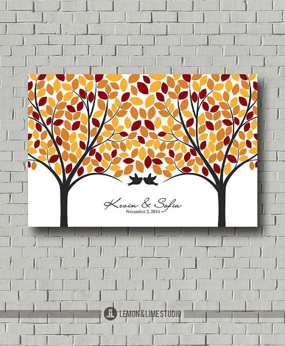 Fall Love Tree Guest Book Wedding Guest Book Signature Tree Print For Wedding Reception Personal Wedding Tree Guest Book Guest Book Tree Wedding Guest Book