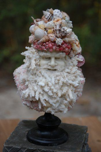 sculpture made from the natural colored seashells and corals.