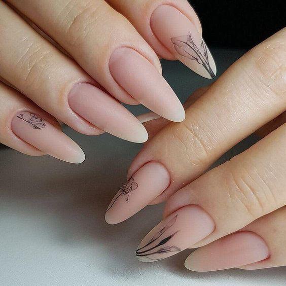 The best little decorative nail design style Kornelia Nowak Uñas nude