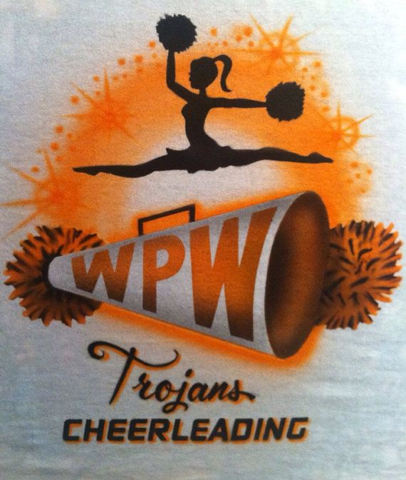 Custom Jumping Cheerleader Airbrushed T-Shirt Personalize any Name or Team Color