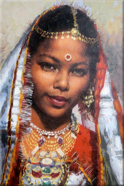 Cuadro: Mujer hindú (22x33 cm, Óleo sobre tabla) - Pintor: José Manuel García López - Referencia: 0923