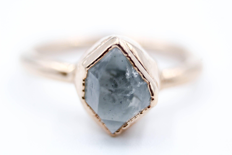 Alternative Engagement Ring Herkimer Diamond Raw Stone Quartz Rough Unique Bohemian Wedding