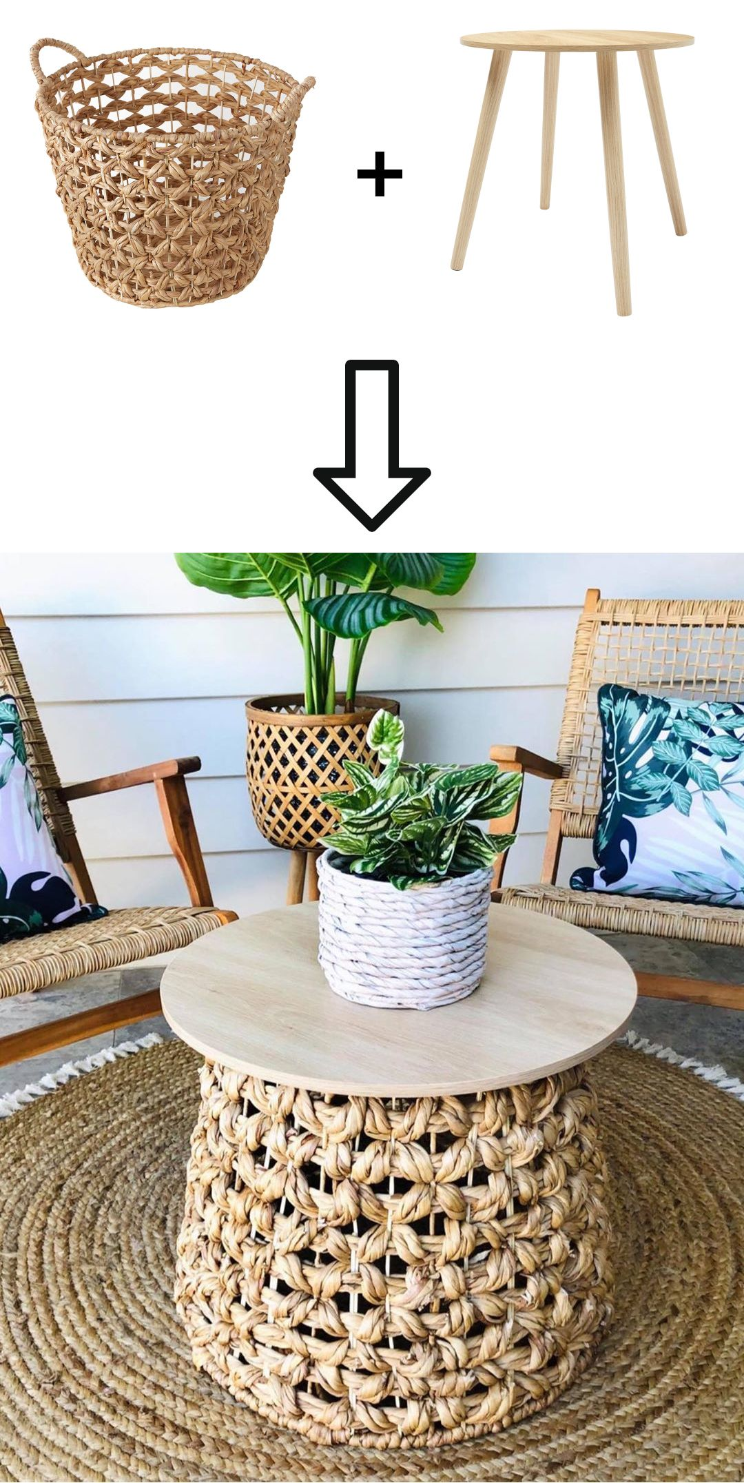 Kmart Hack Woven Basket Coffee Table Home Decor Australia Accent Table Decor Diy Boho Decor [ 2152 x 1080 Pixel ]