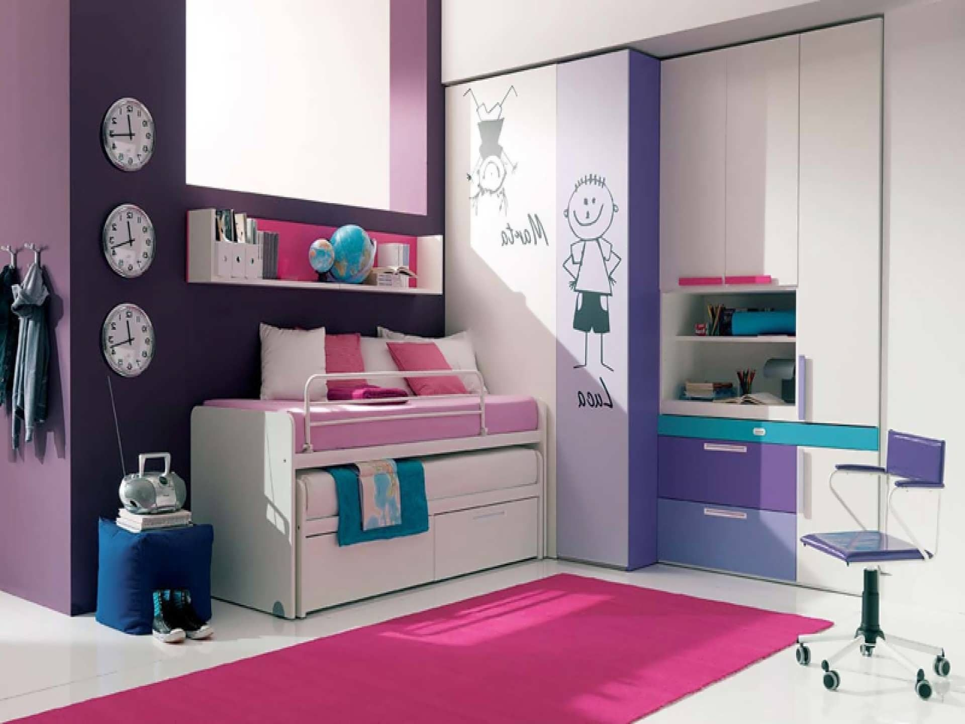 Beautiful Pink Rug For Awesome Room Interior Decorating Ideas On Floor In Modern Kids Bedroom Design With Clock Dark Purple Wall Paint