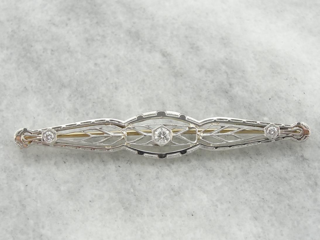 Edwardian Dream, Antique Diamond Brooch, Early 1900's Filigree Brooch with Diamond Accent
