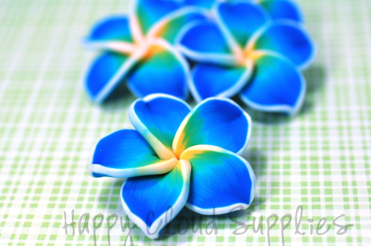 Blue Green And Yellow Polymer Clay Plumeria Frangipani Flowers 4pcs Plumeria Plumeria Tattoo Polymer Clay