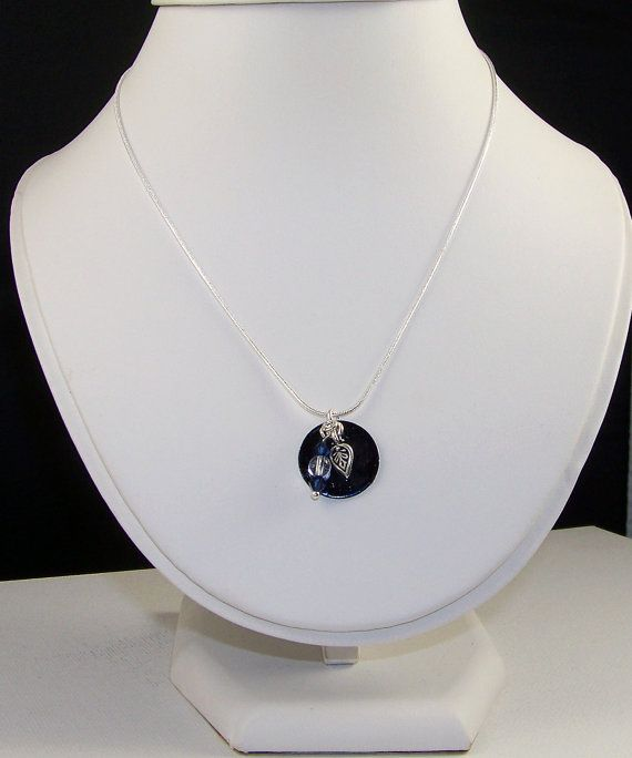 HandPainted Sterling Silver Disc with Swarovski by HoneyBeeHouse, $20.00
