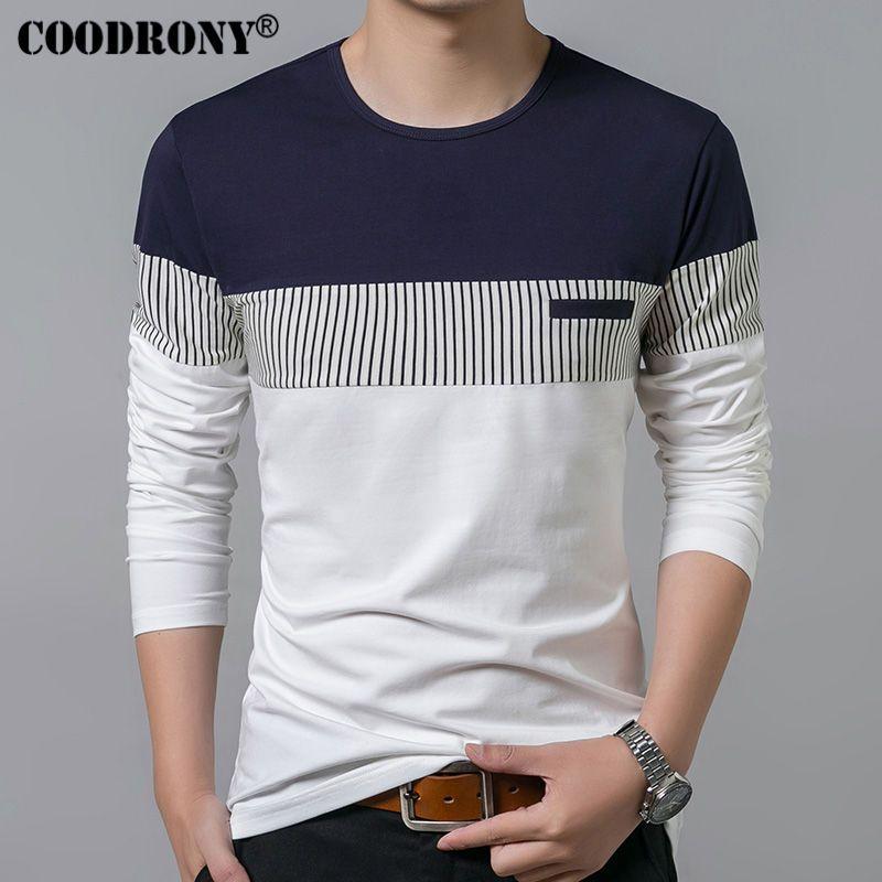 54b3c7b74 COODRONY T-Shirt Men 2018 Spring Summer New Long Sleeve O-Neck T Shirt Men  Brand Clothing Fashion Patchwork Cotton Tee Tops 7622 //Price: $31.00 &  FREE ...