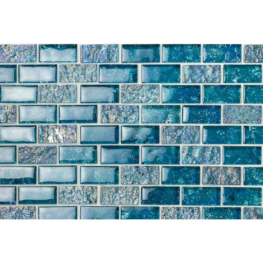 Ivy Hill Tile Marina Iridescent Aqua Brick 11 3 4 In X 11 3 4 In 8 Mm Glass Mesh Mounted Mosaic Tile Ext3rd100124 Mosaic Tiles Mosaic Tiles